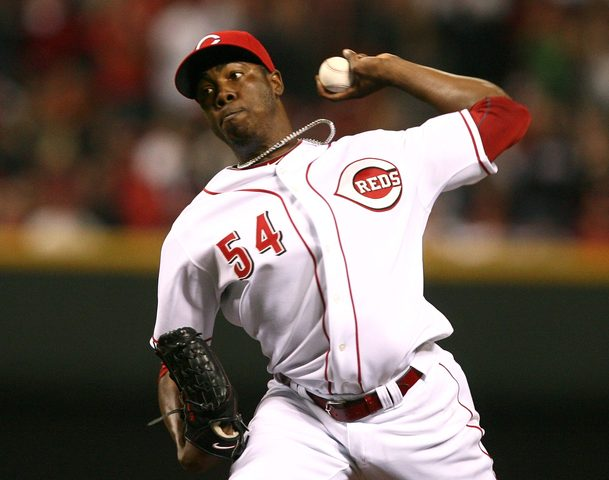 Cincinnati Reds pitcher Aroldis Chapman throws against the Houston Astros in the ninth inning during their MLB National League baseball game in Cincinnati